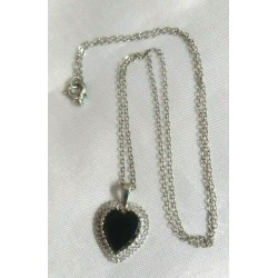 Silver & Onyx Heart Necklace