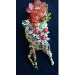 Giraffe in the Jungle Brooch
