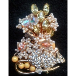 CRYSTAL MOUSE Brooch Pin Figural ANIMAL Rodent