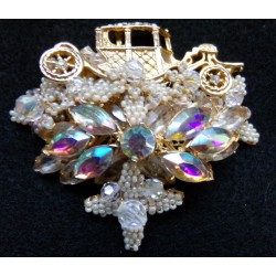ROADSTER CAR Seed Pearls Crystal Brooch Pin FIGURAL AUTO