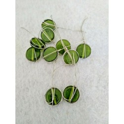 10 Wire Wrapped Green Disks