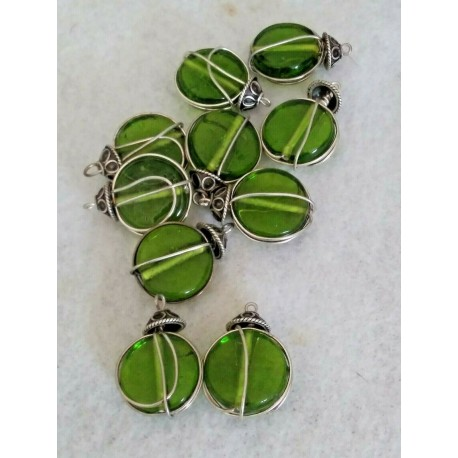 10 Wire Wrapped Green Glass Disk w/Cap