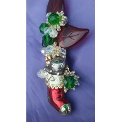 CHRISTMAS STOCKING CAT brooch