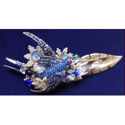 Bluebird in Clouds brooch